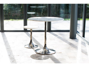 Gillmore Swan Circular Marble Top Black Column Side Table