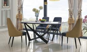 Heartlands Furniture Adelaide Marble Dining Table with Black Metal Frame - kudo Lounge