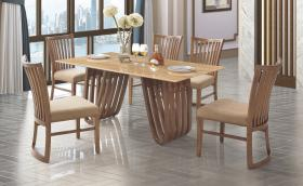 Heartlands Furniture Aurora Marble Dining Table with Wooden Base - kudo Lounge