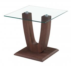 Heartlands Furniture Capri Lamp Table Clear Glass Walnut - kudo Lounge