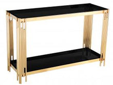Load image into Gallery viewer, Heartlands Furniture Cleveland Black Glass Console Table Gold - kudo Lounge