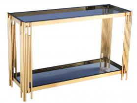 Heartlands Furniture Cleveland Black Glass Console Table Gold - kudo Lounge