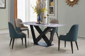 Heartlands Furniture Glendale Marble Dining Table with Black Metal Frame - kudo Lounge