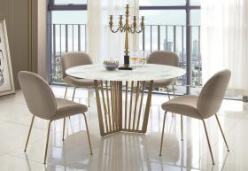 Heartlands Furniture Kilmar Marble Effect Glass Dining Table with Stainless Steel Legs - kudo Lounge