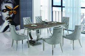 Heartlands Langa Natural Stone Dining Table with Marble Effect Finish - kudo Lounge