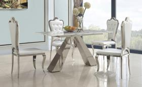 Heartlands Madagascar Dining Table Natural Stone with Marble Effect and Stainless Steel Base - kudo Lounge