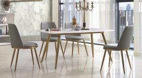 Heartlands Namibia Marble Dining Table with Stainless Steel Legs Gold - kudo Lounge