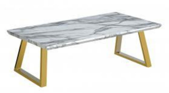 Heartlands Furniture Newchapel Marble Effect Coffee Table with Gold Legs - kudo Lounge