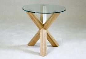 Heartlands Furniture Saturn Solid Oak Lamp Table with Glass Top - kudo Lounge