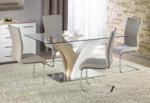 Load image into Gallery viewer, Heartlands Furniture Simone HG Dining Table White & Nat. with Clear Glass Top - kudo Lounge