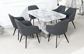 Heartlands Furniture Westlake Marble Effect Glass Dining Table