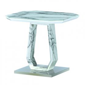 Heartlands Furniture Westlake Marble Effect Glass Lamp Table - kudo Lounge