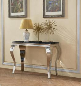 Heartlands Furniture Arriana Marble Console Table with Stainless Steel Base - kudo Lounge