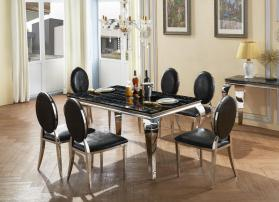 Heartlands Furniture Arriana Marble Dining Table with Stainless Steel Base - kudo Lounge