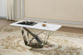 Heartlands Furniture Sardinia Marble Coffee Table with Stainless Steel Base - kudo Lounge