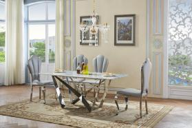Heartlands Furniture Sardinia Marble Dining Table with Stainless Steel Base - kudo Lounge