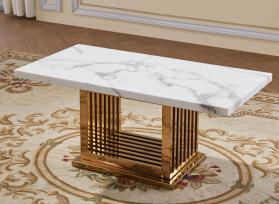 Heartlands Furniture Tuscany Marble Coffee Table with Stainless Steel Base
