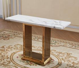 Heartlands Furniture Tuscany Marble Console Table with Stainless Steel Base