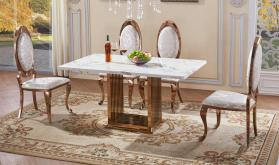 Heartlands Furniture Tuscany Marble Dining Table with Stainless Steel Base