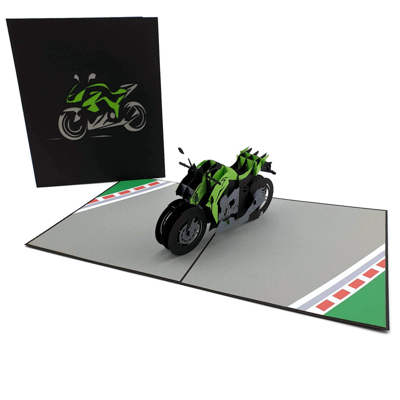 Kawasaki Ninja inspired Sports Motorbike (green) 3d pop up card