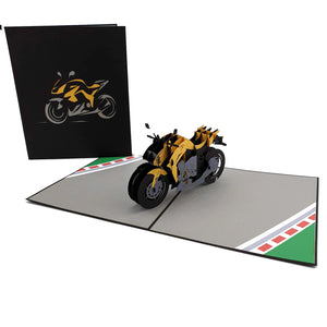 Orange Sports Motorbike 3d pop up card