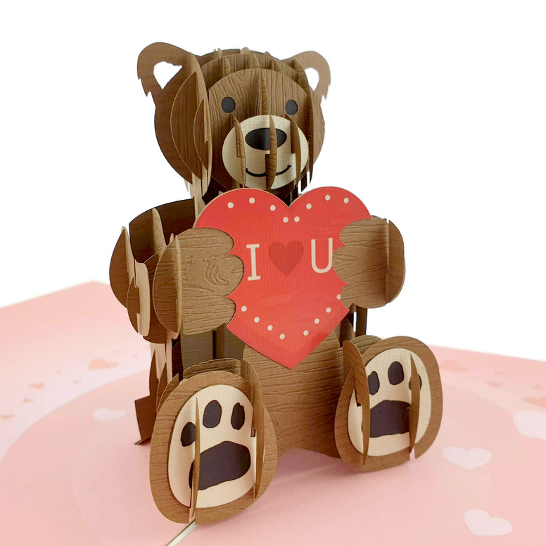 Teddy Bear with Love Heart 3d Pop Up Card