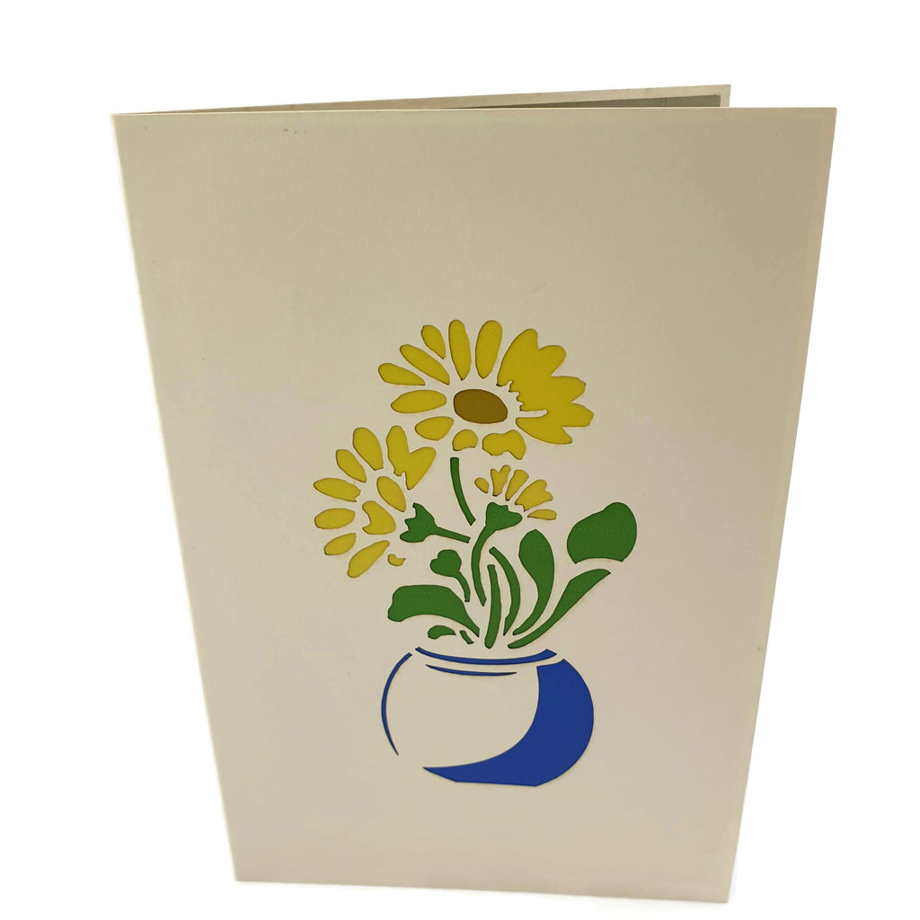 Daisy Vase 3d Pop Up Card