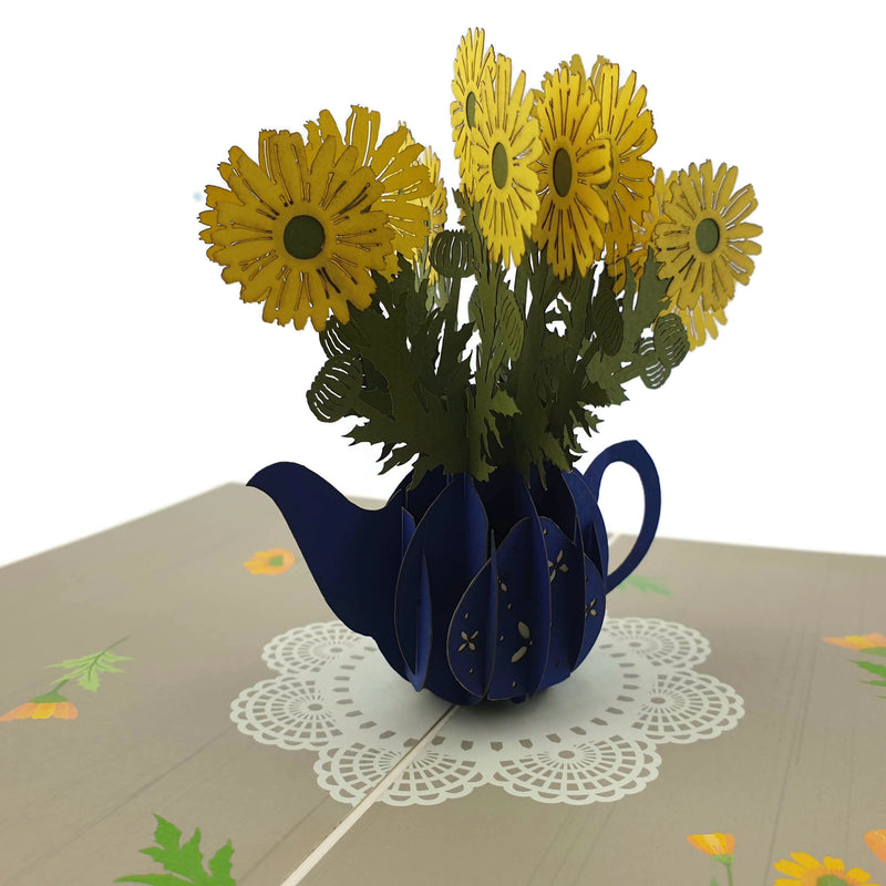 Daisies in a Teapot 3d Pop Up Card