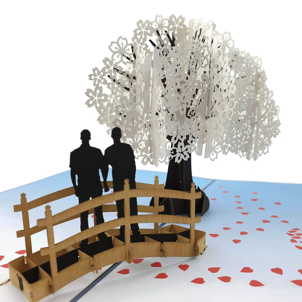 Cherry Blossom Love Scene Same Sex Male 3D pop up card
