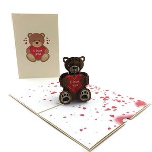 Teddy Bear Love Heart Pop Up Card