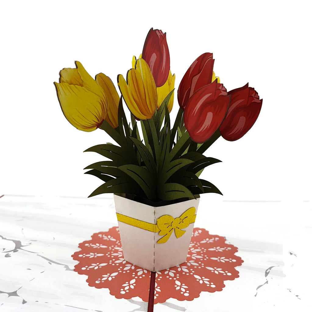 Red & Yellow Tulips 3d Pop Up Card