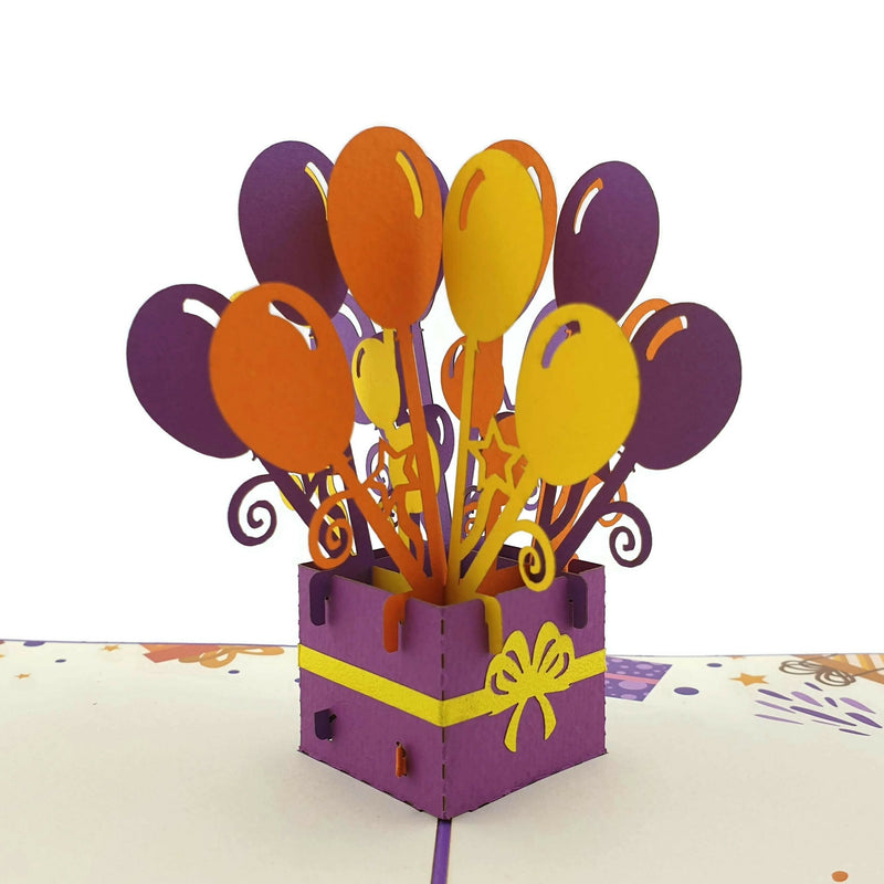 Happy Birthday Balloons (purple) 3D pop up card