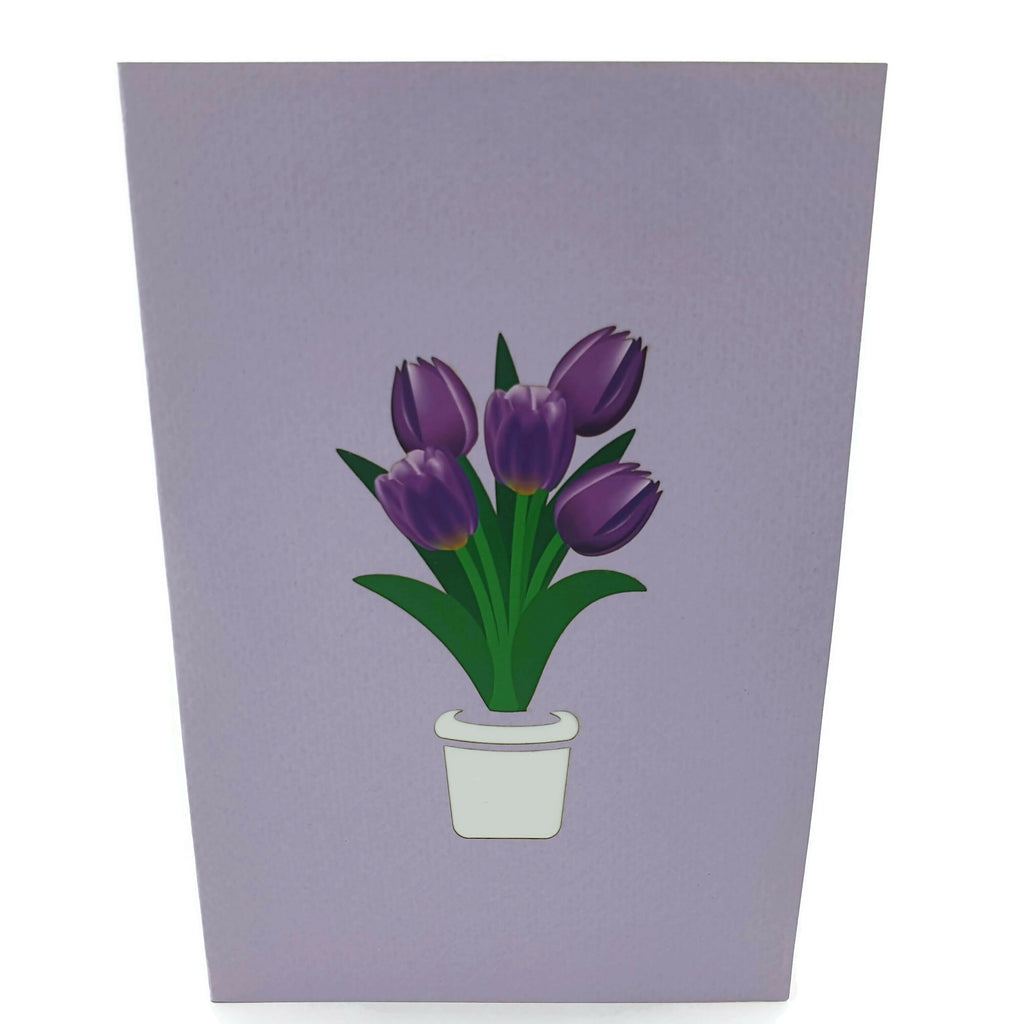 Purple Tulips 3d Pop Up Card