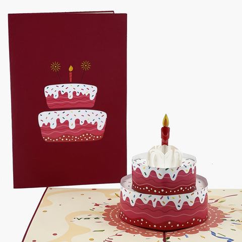 Three Layer White Birthday Cake 3d pop up card