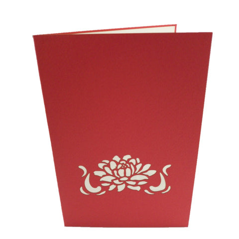 Red Water Lily 3d pop up card