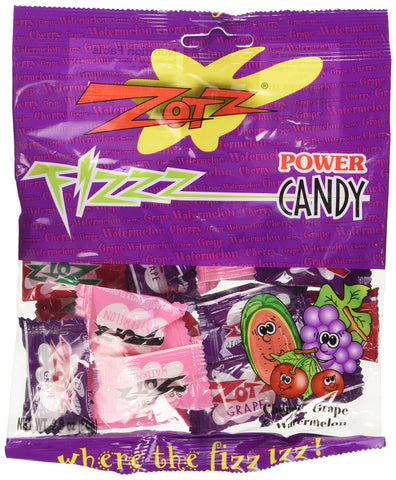 Zotz Assorted Hard Candy With Fizzy Powder Inside - Cherry, Grape, And Watermelon - 2.8 oz Retail Pack