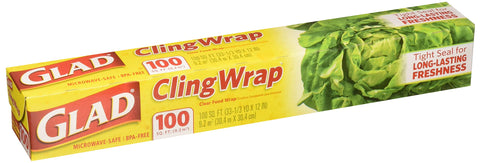 Glad Plastic Cling Wrap, 100 Sq. Ft. Roll 2-pack (200 Sf Total)
