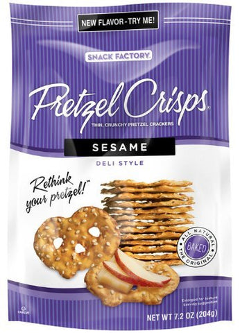 Snack Factory, Pretzel Crisps, Sesame Deli Style, 7.2oz Pouch (Pack of 4)