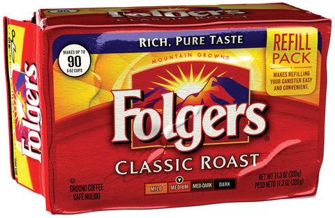 Folgers Classic Roast Ground Coffee, 11.3 Ounce Refill Packs (Pack of 6)