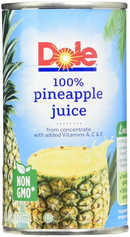 Dole 100% Pineapple Juice - 6 oz - 6 ct