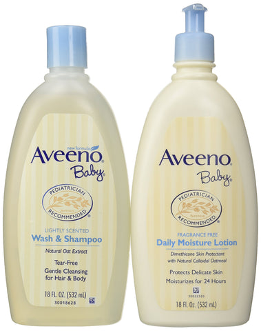 Bundle: Aveeno Baby Daily Moisture Lotion, 18 Ounce + Aveeno Baby Wash & Shampoo, 18 Ounce