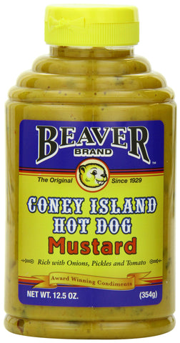 Beaver Brand Coney Island Hot Dog Mustard, 12.5-Ounce Squeezable Bottles (Pack of 6)