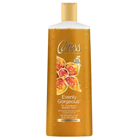 Caress Evenly Gorgeous Exfoliating Body Wash, 18Ounce Bottle (Pack of 3)