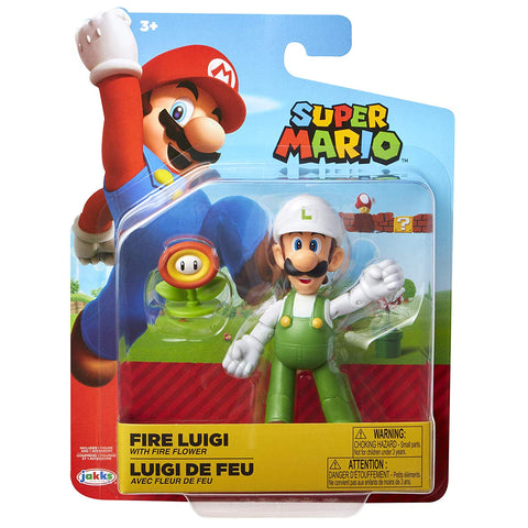 Nintendo Super Mario Fire Luigi 4 Articulated Figure with Fire Flower