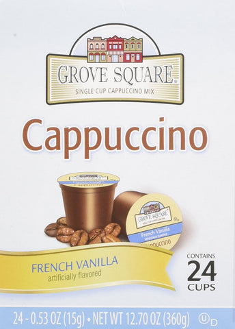 Grove Square Cappuccino Cups, French Vanilla, Single Serve Cup for Keurig K-Cup Brewers, 24 Count (Pack of 2)