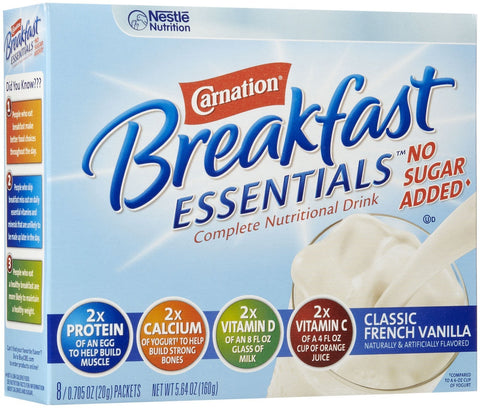 Carnation Instant Breakfast No Sugar Added, Vanilla, 8pk