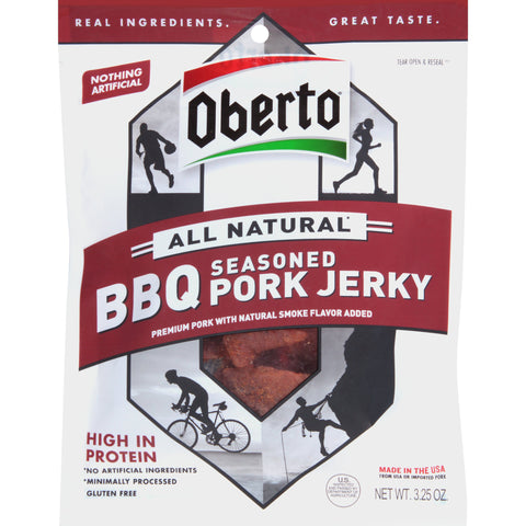 Oberto All Natural BBQ Seasoned Pork Jerky, 3.25 Ounce Bag (Pack Of 4)