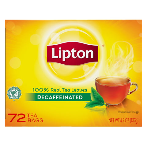 Lipton Tea Bags, Decaf, 1.25 oz Packets, 72/BX, Sold as 1 box