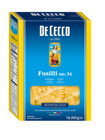 De Cecco Pasta, Fusilli, 16 Ounce (Pack of 5)
