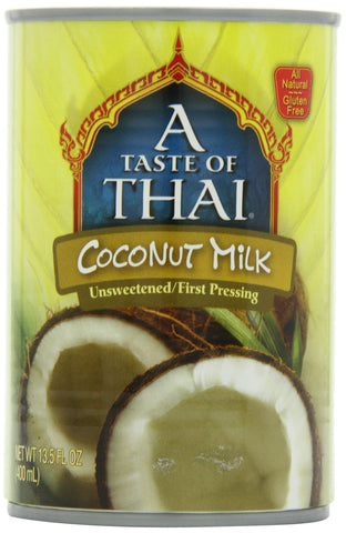 A Taste of Thai Unsweetened Coconut Milk, 13.5-Ounce Cans (Pack of 12)